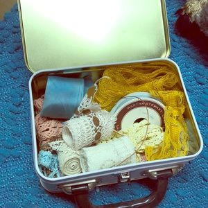 Other - Old tin box filled with antique lace